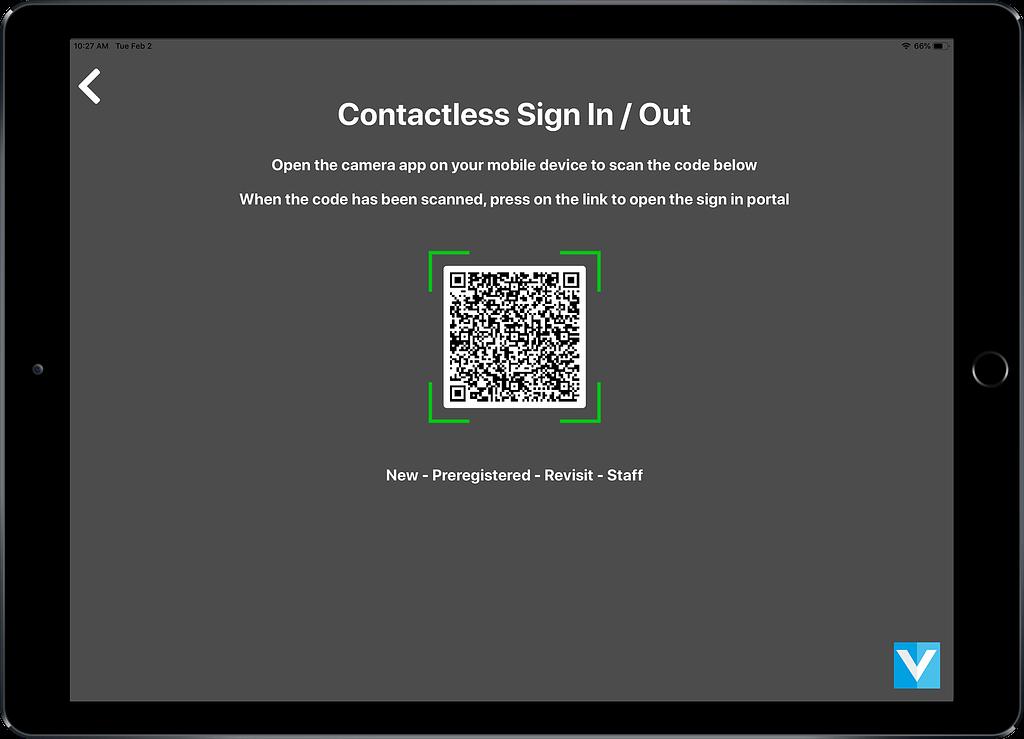 VisitUs Contactless mode