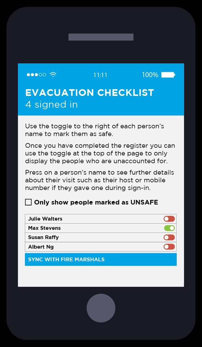 VisitUs Visitor Management Evacuation Checklist
