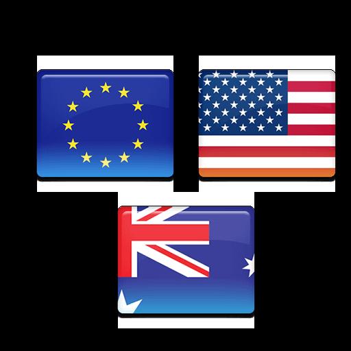 Australia, Usa, Europe Flags